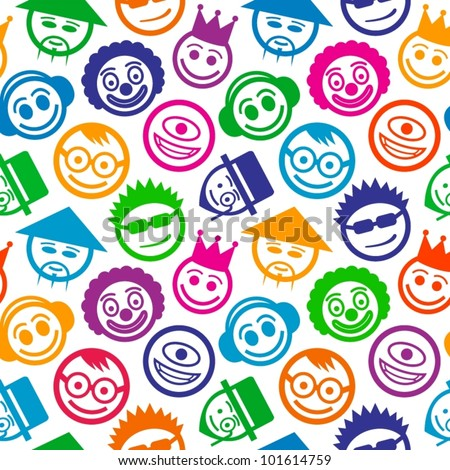 Colorful smiley faces seamless pattern. - stock vector
