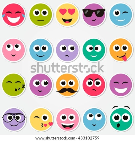 colorful smiley faces stickers set - stock vector