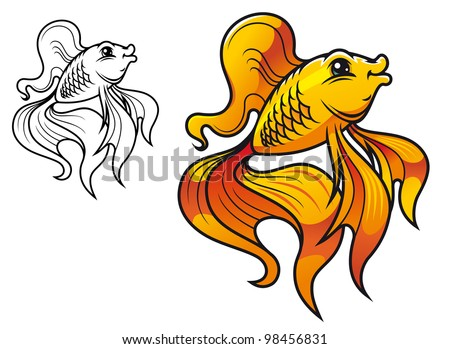 Colorful smiling golden fish in cartoon style isolated on white background. Jpeg version also available in gallery - stock vector