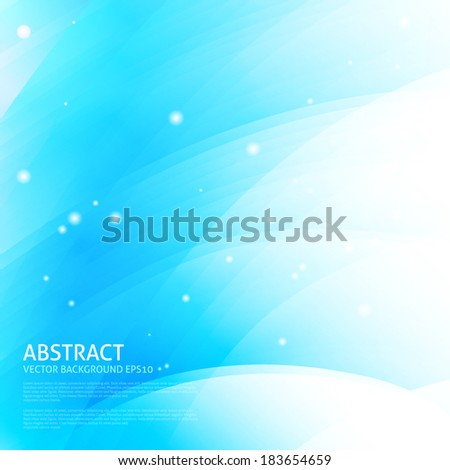 Colorful smooth wavy curved lines. Blue color background - stock vector