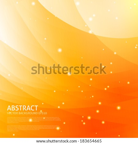 Colorful smooth wavy curved lines. Orange color background - stock vector