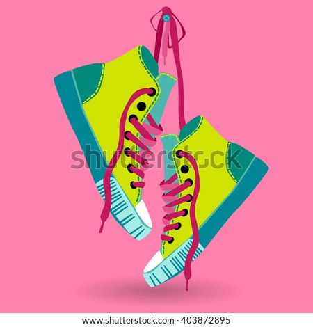 Colorful Sneaker Pair Hang On Lace Training Shoe Foot Wear Icon Vector Illustration - stock vector