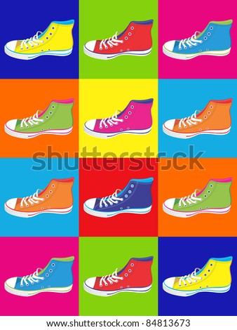 Colorful sneakers on differentes colors background. Vector available - stock vector