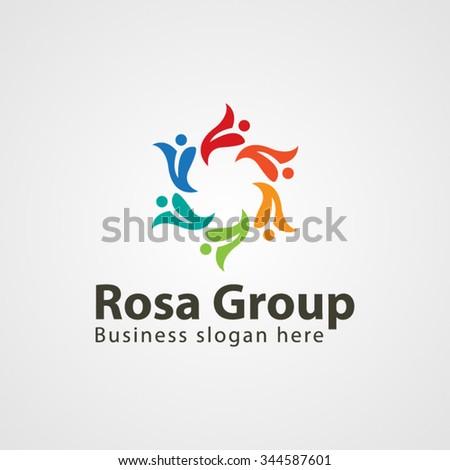 Colorful Social Group Logo - stock vector