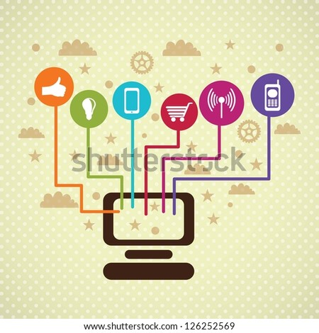 Colorful Social Media concept with laptop and circles (icons set), on vintage  background. - stock vector
