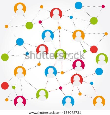 colorful social media connection stock vector - stock vector