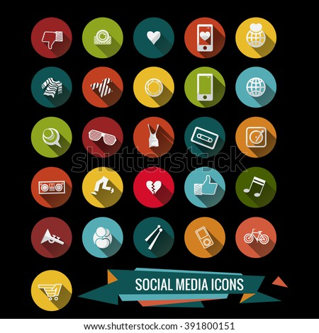 Colorful Social media icons - stock vector