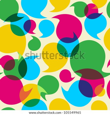 Colorful social media speech transparency bubbles seamless pattern background. Vector file layered for easy manipulation and custom coloring. - stock vector