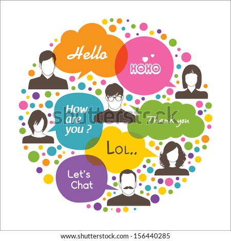 Colorful social network design - stock vector