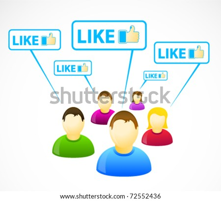 Colorful social network people with like signs