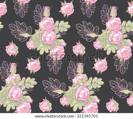 Colorful & soft rose seamless pattern. Background, textile & wallpaper design. Vintage beauty. Vector illustration.