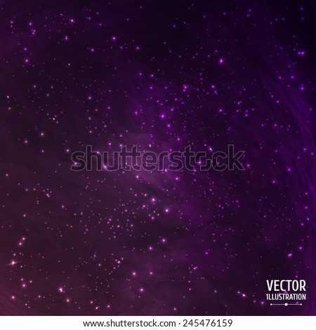 Colorful Space Cosmic Background with Light, Shining Stars, Stardust and Nebula. Vector Illustration for artwork, party flyers, posters, banners - stock vector