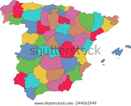 Colorful Spain map  - stock vector