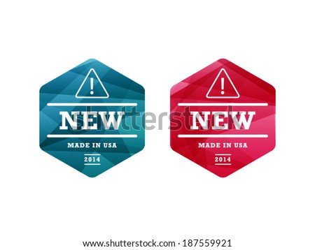 Colorful spectrum geometric shiny new badge ribbon sign object vector graphic illustration template isolated on white background - stock vector