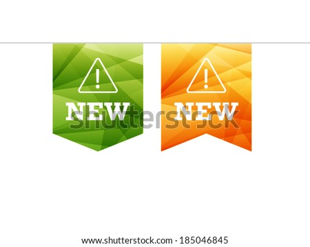Colorful spectrum geometric shiny new ribbon sign object vector graphic illustration template isolated on white background - stock vector