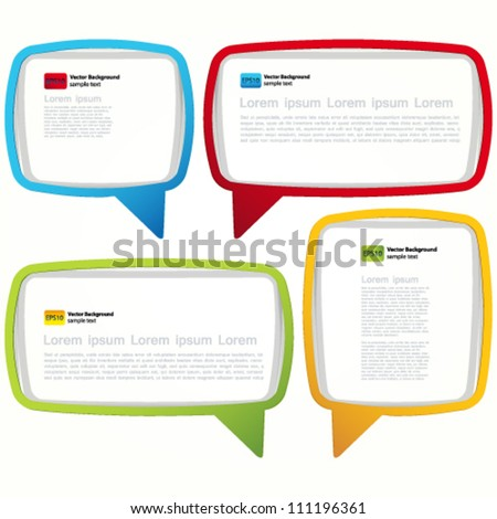 Colorful speech bubble frames. Labels in the form of an empty frame for your text. - stock vector