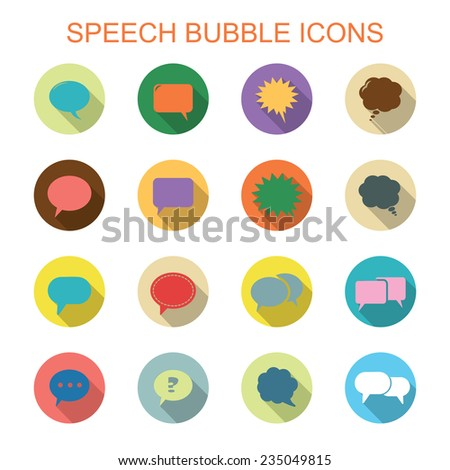 colorful speech bubble long shadow icons, flat vector symbols - stock vector