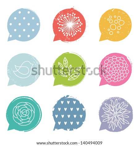 Colorful speech bubble set with floral details - stock vector