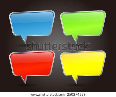 Colorful Speech Bubbles for website computer graphic and internet. text box.