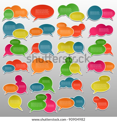 Colorful speech bubbles, Tags - stock vector