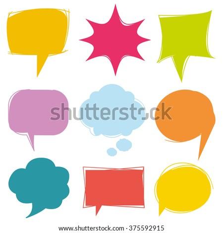 colorful speech bubbles, vector cute communication bubbles, bubble collection - stock vector