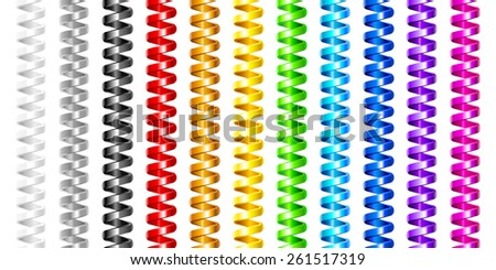 Colorful spiral wires set. (Seamlessly). - stock vector