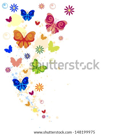 Colorful splash of butterflies, flowers and paint splashes. Colored background with butterflies and flowers. Vector illustration