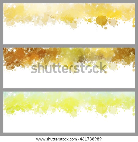 Colorful splash set. Creative horizontal business card on white background.