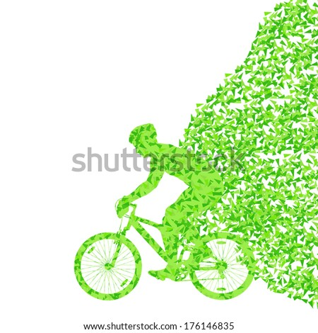 Colorful sport road bike rider bicycle silhouette background illustration vector concept made of triangular fragments explosion - stock vector