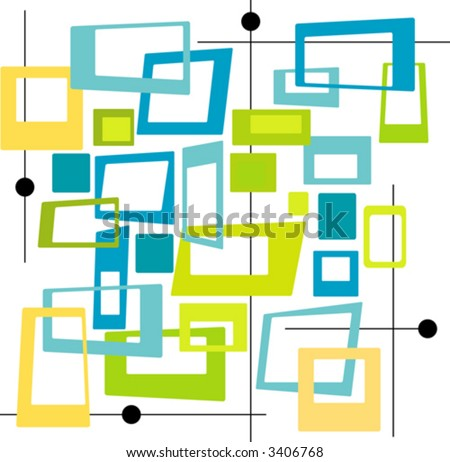Colorful Spot illustration of stylish, retro squares. Easy-edit layered vector file--No transparencies or strokes! - stock vector