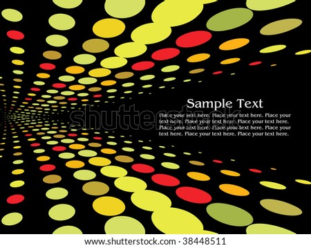 colorful spot light rows on black abstract background - stock vector