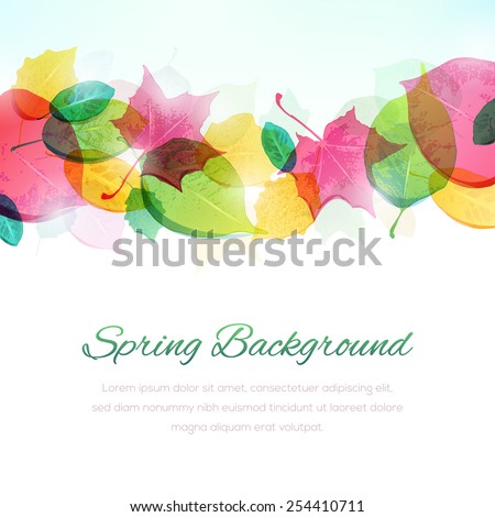 """Colorful spring background with copy space at the bottom. File format is EPS10. The fonts are called """"Alex Brush"""" and """"Nexa Light"""". - stock vector"""