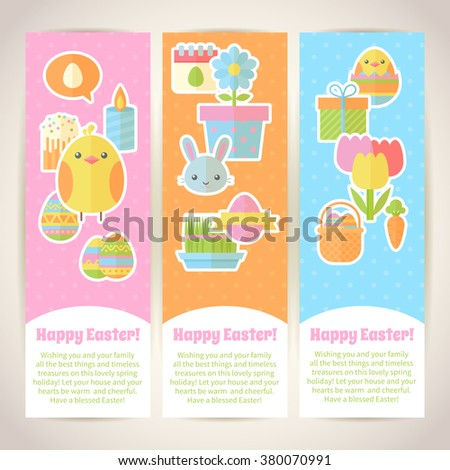 Colorful spring Easter flat banners set with bunnies, chicken, eggs, candles, flowers for web design and postcards