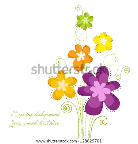 Colorful spring floral background - stock vector