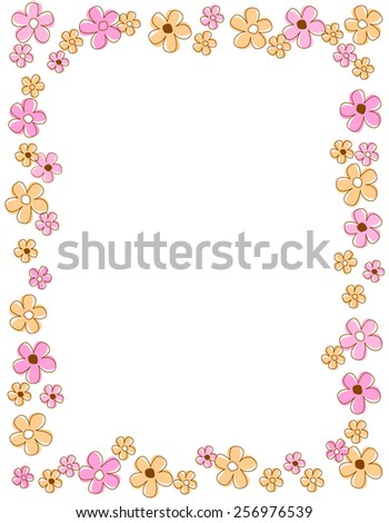 Colorful spring flowers border / frame - stock vector