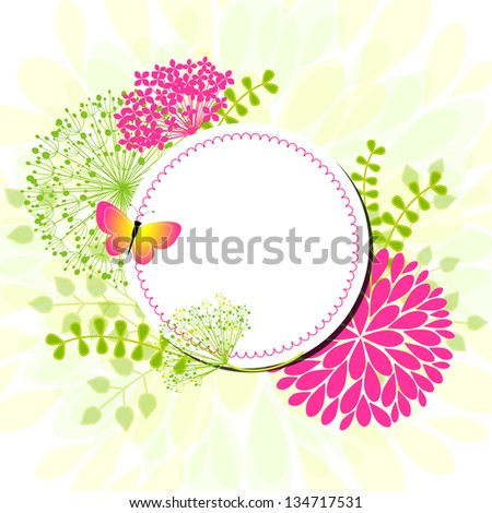 Colorful Springtime flowers Butterfly Greeting Card - stock vector