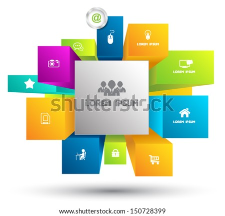 Colorful Square background with icons - Vector Design Concept / can use for business concept / education diagram / object for printing / Box banner for promotion - stock vector