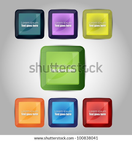 colorful square banners/badges - stock vector