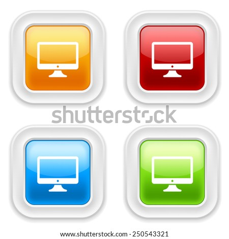 Colorful square buttons with desktop icon on white background - stock vector