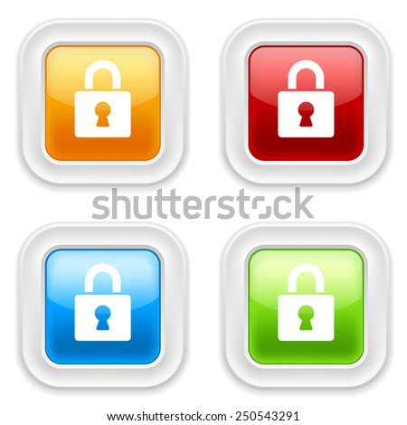 Colorful square buttons with padlock icon on white background - stock vector