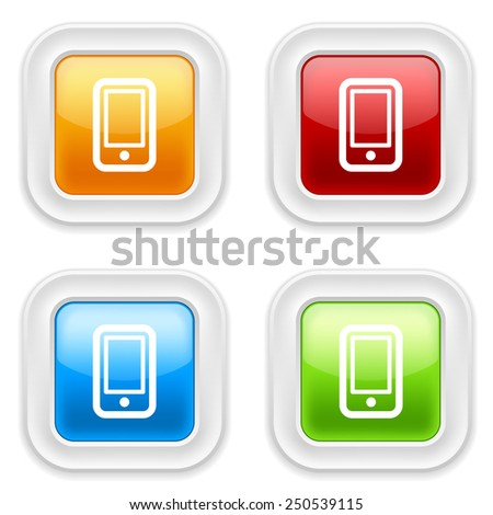 Colorful square buttons with smartphone icon on white background - stock vector