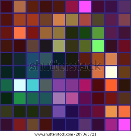 Colorful square tile mosaic with violet borders - seamless background - stock vector