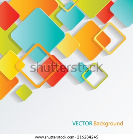 Colorful Squares Concept Vector Background - stock vector