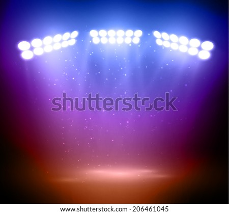 Colorful stage lights background. Vector eps10.  - stock vector