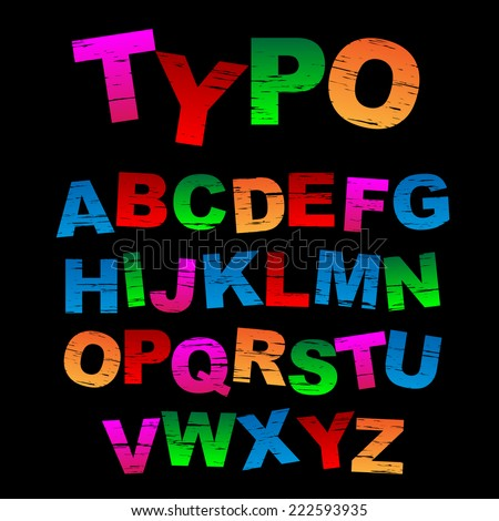 Colorful stamped vector letters