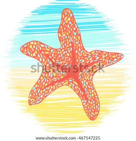 colorful Starfish on sea and sand background. spotted vector illustration