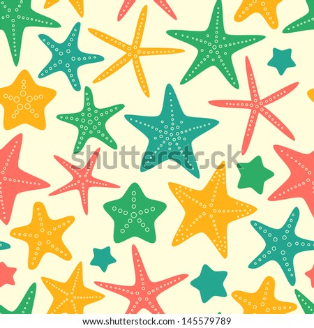 Colorful starfishes summer seamless background, vector - stock vector