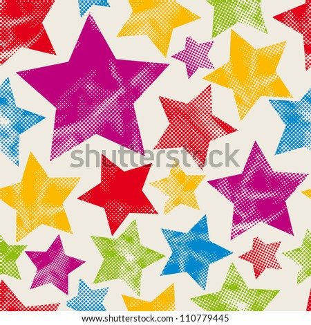 Colorful stars seamless pattern with pixel texture, vector background. - stock vector