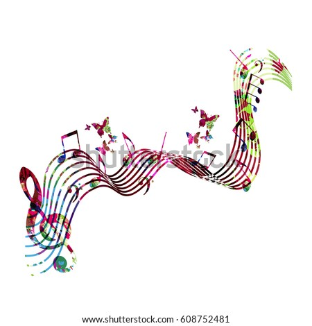 Colorful Stave With Music Notes And Butterflies Isolated Vector Illustration Background For Poster