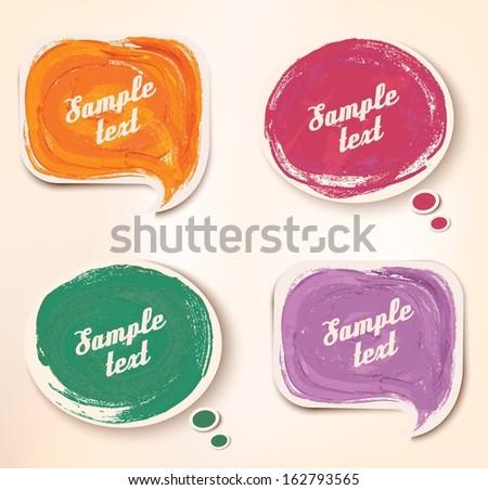 Colorful sticker speech bubbles. Vector. - stock vector